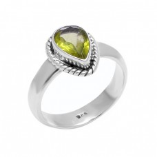 Faceted Pear Shape Peridot Gemstone 925 Sterling Silver Black Oxidized Ring