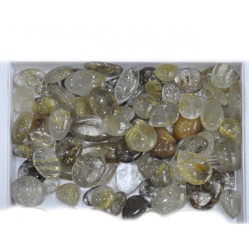 Golden Rutile Quartz Cabochon Loose Gemstone Mix Shape Size Bunch Lots For Jewelry