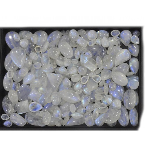 Rainbow Moonstone Cabochon Loose Gemstone Mix Shape Size Bunch Lots For Jewelry