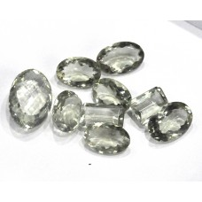 Green Amethyst Faceted Loose Gemstone Mix Shape Size Bunch Lots For Jewelry