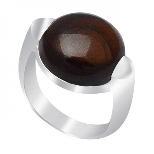 Cabochon Round Shape Smoky Quartz Gemstone 925 Sterling Silver Ring Jewelry