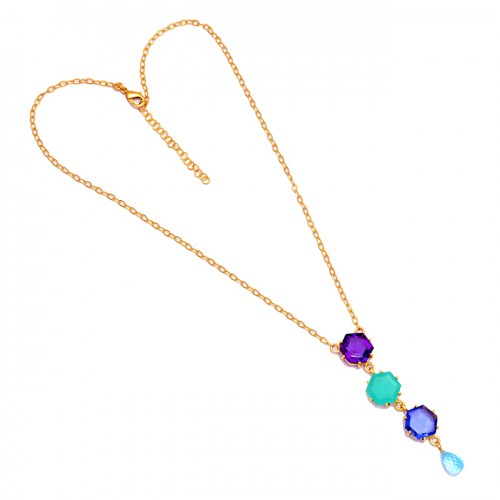 Pear Drop Hexagon Shape Gemstone 925 Sterling Silver Gold Plated Necklace