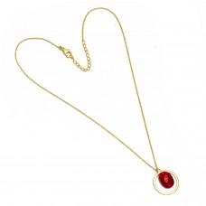 Red Ruby Oval Shape Gemstone 925 Sterling Silver Gold Plated Necklace Jewelry