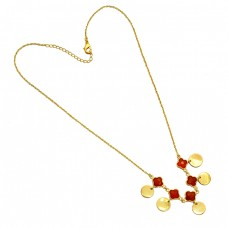 925 Sterling Silver Carved Flower Shape Carnelian Gemstone Gold Plated Necklace