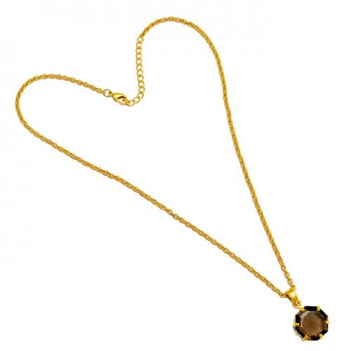925 Sterling Silver Hexagon Shape Smoky Quartz Gemstone Gold Plated Necklace