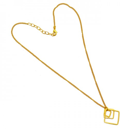 Handcrafted Designer Plain Stylish 925 Sterling Silver Gold Plated Necklace Jewelry