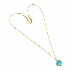 925 Sterling Silver Square Shape Turquoise Gemstone Gold Plated Designer Necklace