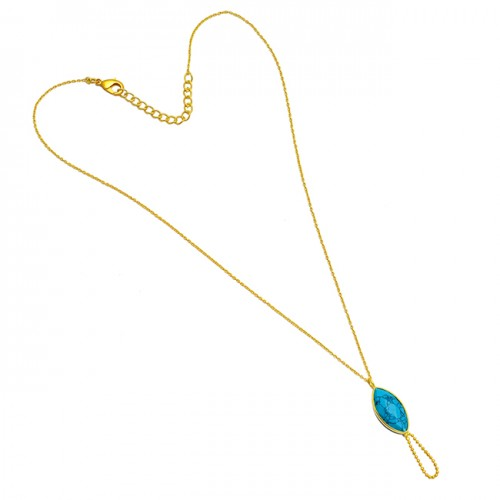 925 Sterling Silver Marquise Shape Turquoise Gemstone Gold Plated Chain Necklace