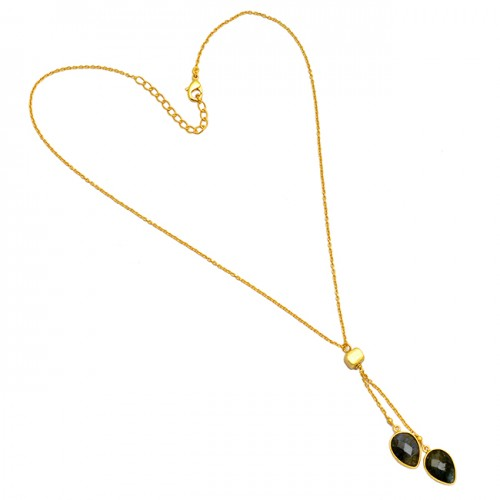 Pear Shape Smoky Quartz Gemstone 925 Sterling Silver Gold Plated Chain Style Necklace