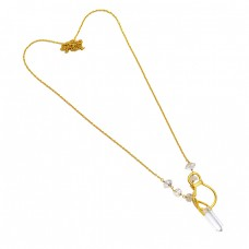 Crystal Herkimer Diamond Rough Gemstone 925 Sterling Silver Gold Plated Necklace