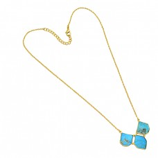 925 Sterling Silver Fancy Shape Turquoise Gemstone Gold Plated Designer Necklace
