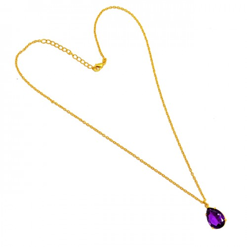 Pear Shape Amethyst Gemstone 925 Sterling Silver Gold Plated Necklace Jewelry