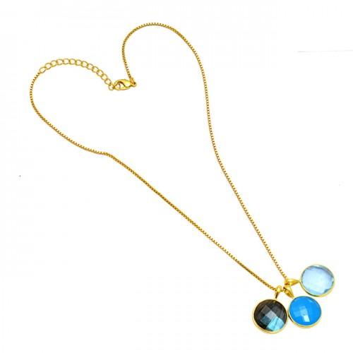 Round Shape Multi Color Gemstone 925 Sterling Silver Gold Plated Necklace Jewelry