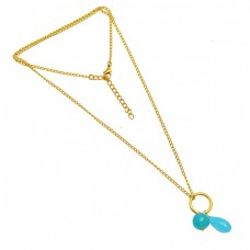 925 Sterling Silver Aqua Chalcedony Gemstone Gold Plated Handcrafted Designer Necklace