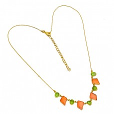 Carnelian Peridot Fancy Shape Gemstone 925 Sterling Silver Gold Plated Necklace