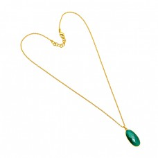 Oval Shape Green Onyx Gemstone 925 Sterling Silver Gold Plated handmade Necklace