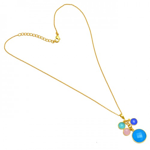 925 Sterling Silver Round Shape Chalcedony Gemstone Gold Plated Necklace Jewelry