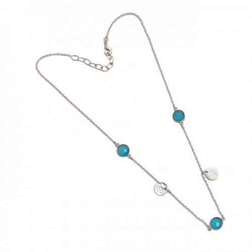 925 Sterling Silver Round Shape Aqua Chalcedony Gemstone Handmade Necklace Jewelry