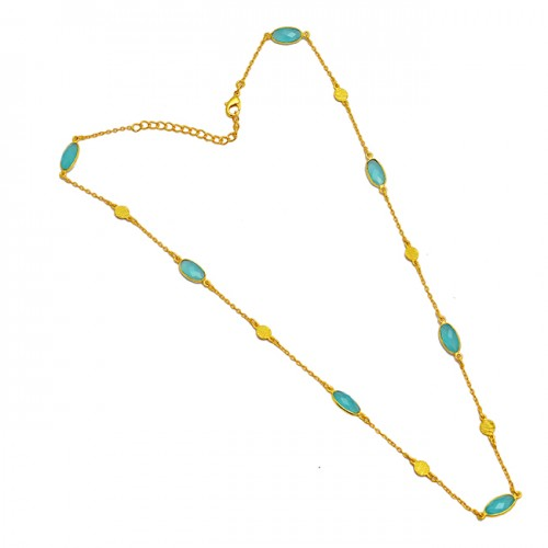 Oval Shape Aqua Chalcedony Gemstone 925 Sterling Silver Gold Plated Necklace Jewelry