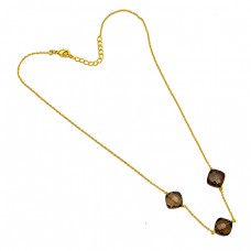 Smoky Quartz Cushion Shape Gemstone 925 Sterling Silver Gold Plated Handmade Necklace