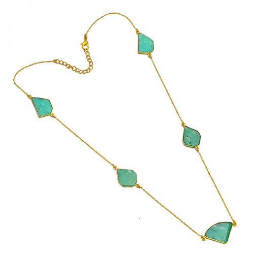 Natural Chrysophrase Fancy Shape Gemstone 925 Sterling Silver Gold Plated Necklace