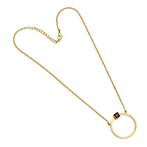 Smoky Quartz Gemstone 925 Sterling Silver Gold Plated Handmade Designer Necklace