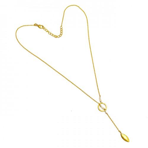 Rose Quartz Round Shape Gemstone 925 Sterling Silver Gold Plated Designer Necklace