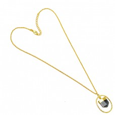 Pencil Shape Amethyst Gemstone 925 Sterling Silver Gold Plated Necklace Jewelry