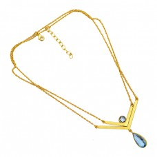 Blue Quartz Round Pear Shape Gemstone 925 Sterling Silver Gold Plated Necklace