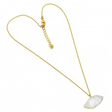 Rainbow Moonstone Fancy Shape 925 Sterling Silver Gold Plated Designer Necklace