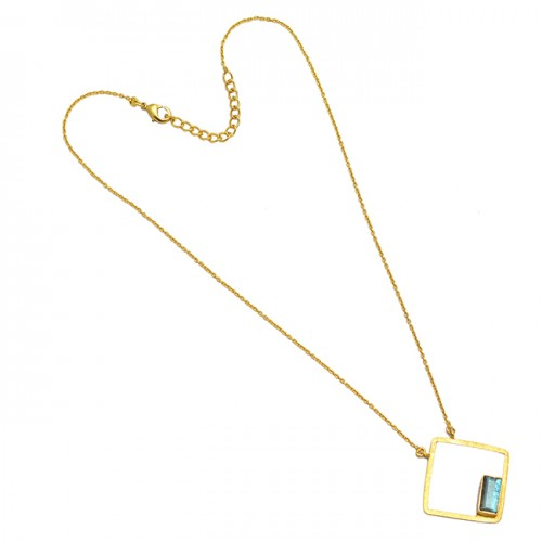 925 Sterling Silver Octagon Shape Labradorite Gemstone Gold Plated Necklace Jewelry