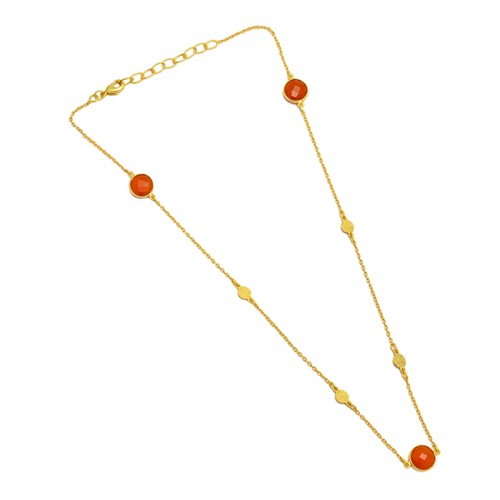 Carnelian Round Shape Gemstone 925 Sterling Silver Gold Plated Handcrafted Necklace
