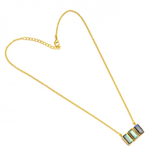 925 Sterling Silver Labradorite Octagon Shape Gemstone Gold Plated Necklace Jewelry