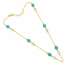 Turquoise Oval Round Shape Gemstone 925 Sterling Silver Gold Plated Necklace