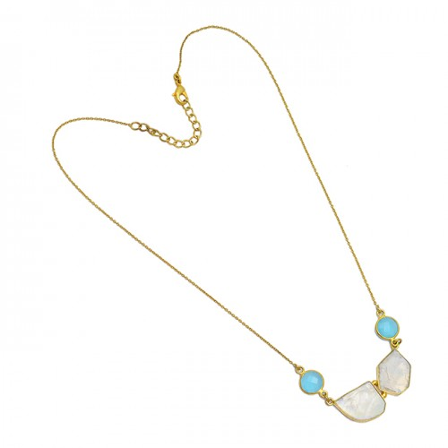 Chalcedony Moonstone 925 Sterling Silver Gold Plated Handcrafted Designer Necklace