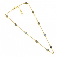 Labradorite Oval Shape Gemstone 925 Sterling Silver Gold Plated Necklace Jewelry