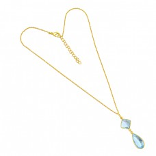 925 Sterling Silver Blue Topaz Pear Square Shape Gemstone Gold Plated Chain Necklace