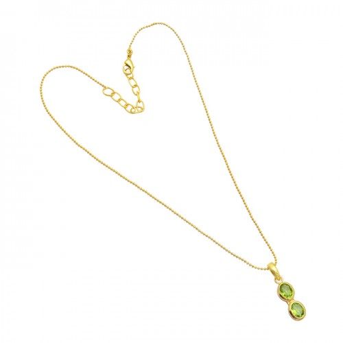 Faceted Oval Shape Peridot Gemstone 925 Sterling Silver Gold Plated Necklace
