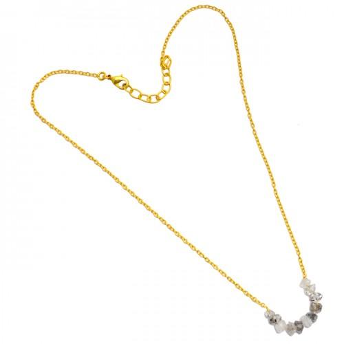 Herkimer Diamond Rough Gemstone 925 Sterling Silver Gold Plated Designer Necklace