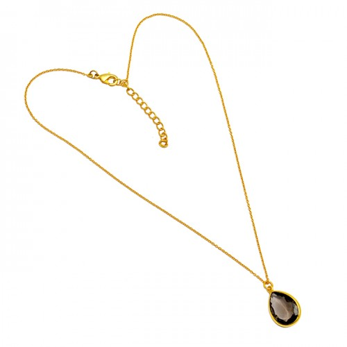 Pear Shape Smoky Quartz Gemstone 925 Sterling Silver Gold Plated Necklace Jewelry