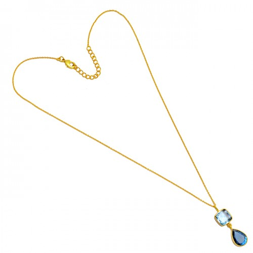 Blue Topaz Cushion Pear Shape Gemstone 925 Sterling Silver Gold Plated Necklace Jewelry