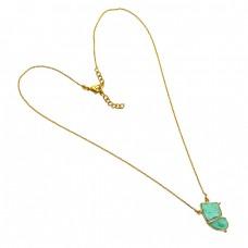 925 Sterling Silver Chrysophrase Fancy Shape Gemstone Gold Plated Handmade Necklace