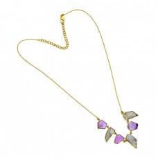 Amethyst Labradorite Fancy Shape Gemstone 925 Sterling Silver Gold Plated Necklace