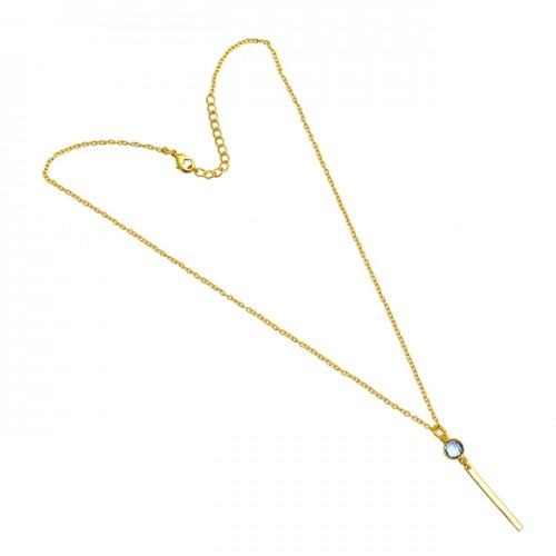 Blue Topaz Round Shape Gemstone 925 Sterling Silver Gold Plated Designer Necklace