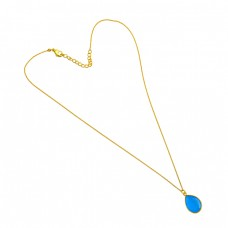 Blue Chalcedony Pear Shape Gemstone 925 Sterling Silver Gold Plated Necklace Jewelry