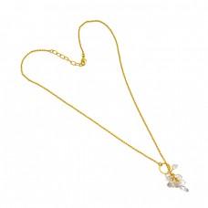 925 Sterling Silver Herkimer Diamond Rough Gemstone Gold Plated Designer Necklace