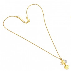 Pencil Shape Crystal Gemstone 925 Sterling Silver Gold Plated Handmade Necklace