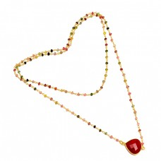 Ruby Multi Tourmaline Gemstone 925 Sterling Silver Gold Plated Beaded Necklace