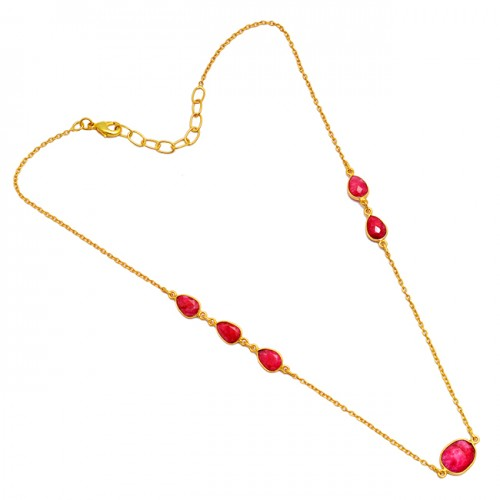 Ruby Pear Oval Shape Gemstone 925 Sterling Silver Gold Plated Bezel Setting Necklace