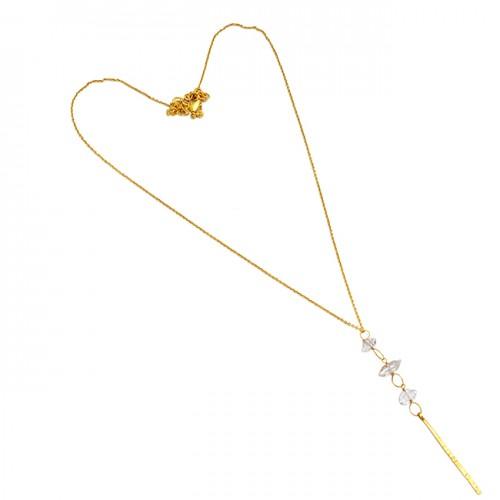 Handcrafted Designer Herkimer Diamond Rough Gemstone 925 Silver Gold Plated Necklace